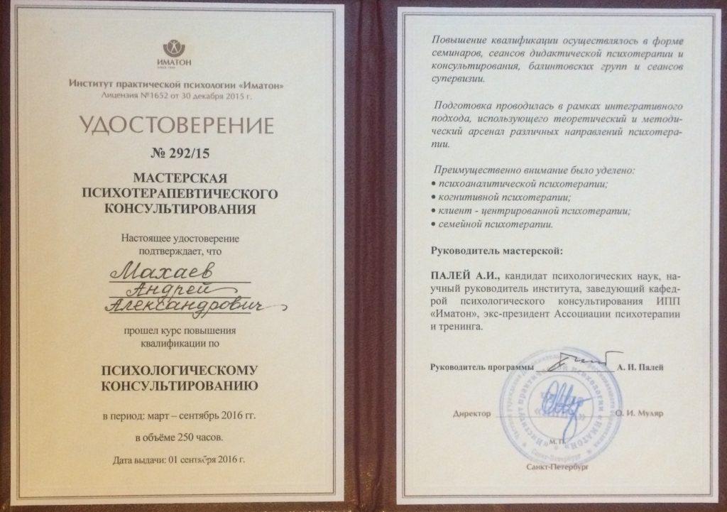 Сертификат Андрея Махаева